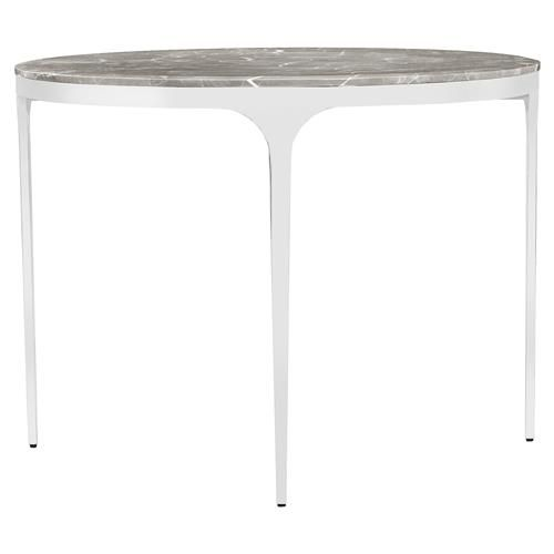 Interlude Camilla Modern Grey Marble Round Silver Dining Table