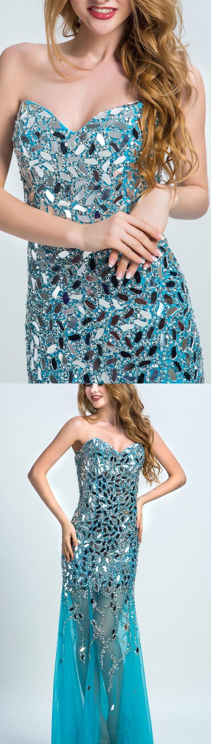 Custom made rhinestone light blue evening prom dresses cute long