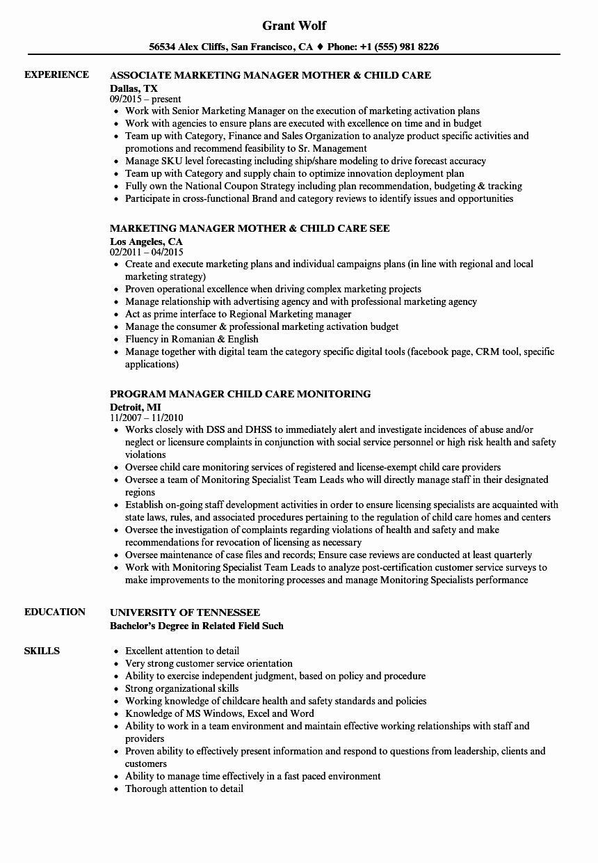 Child Care Resume Examples Luxury Child Care Manager