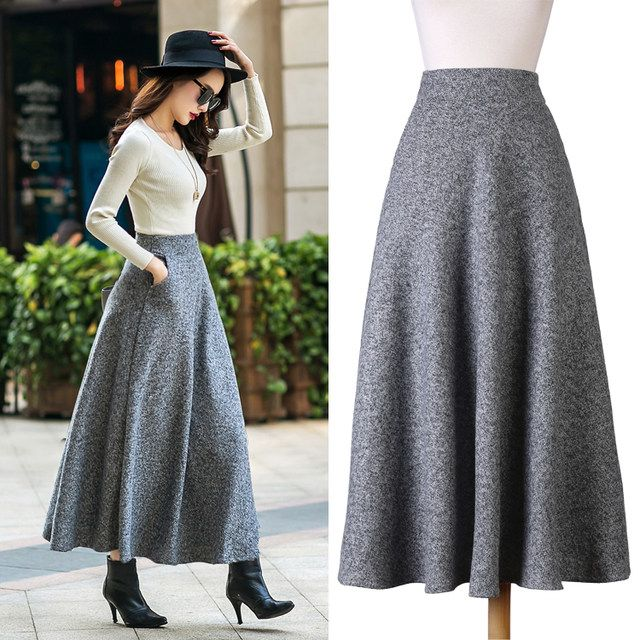 British Style New Quality Winter Skirt 2018 Autumn Fashion Womens Long Woolen Skirts Big Bottom A-line Wool Skirts S-XXL