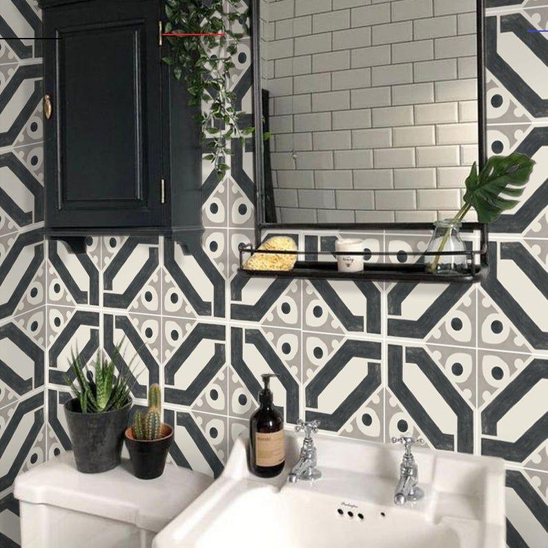 Kitchen And Bathroom Splashback Removable Vinyl Wallpaper Jocasta Peel Stick Bathroomsplashback Cement Tile Stickers Aren T Only Aesthetic They Off