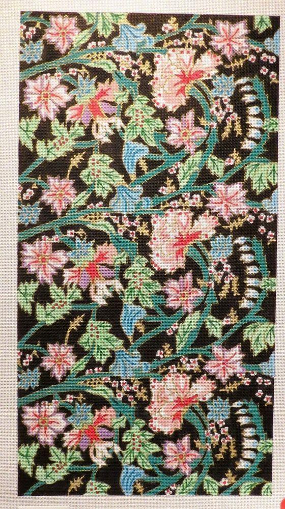 Elizabeth Turner Pretty Pink Floral Pattern Handpainted Needlepoint Canvas #Handpainted