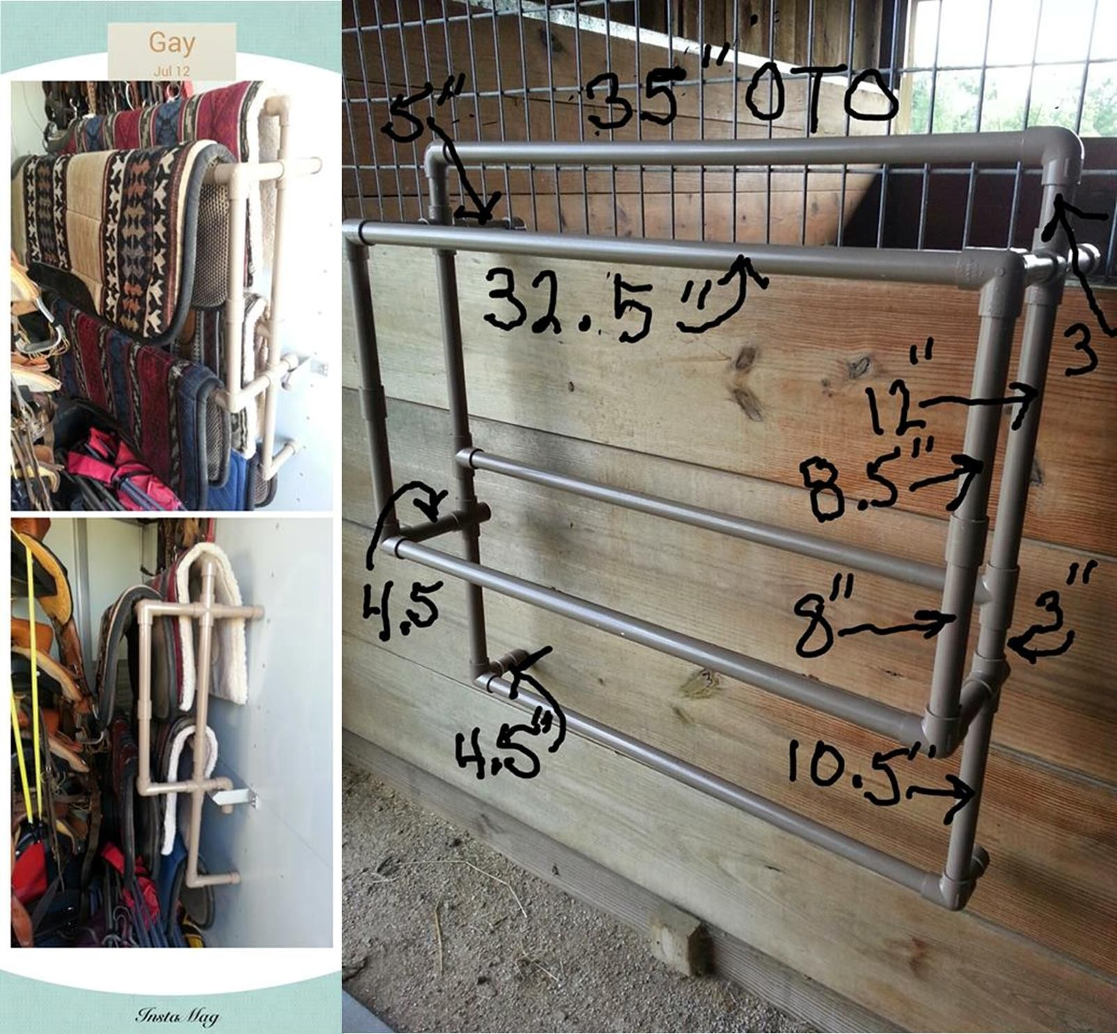Portable And Configurable Pvc Saddle Blanket Holder Dyi Saddle Pad Stand Horse Trailer And