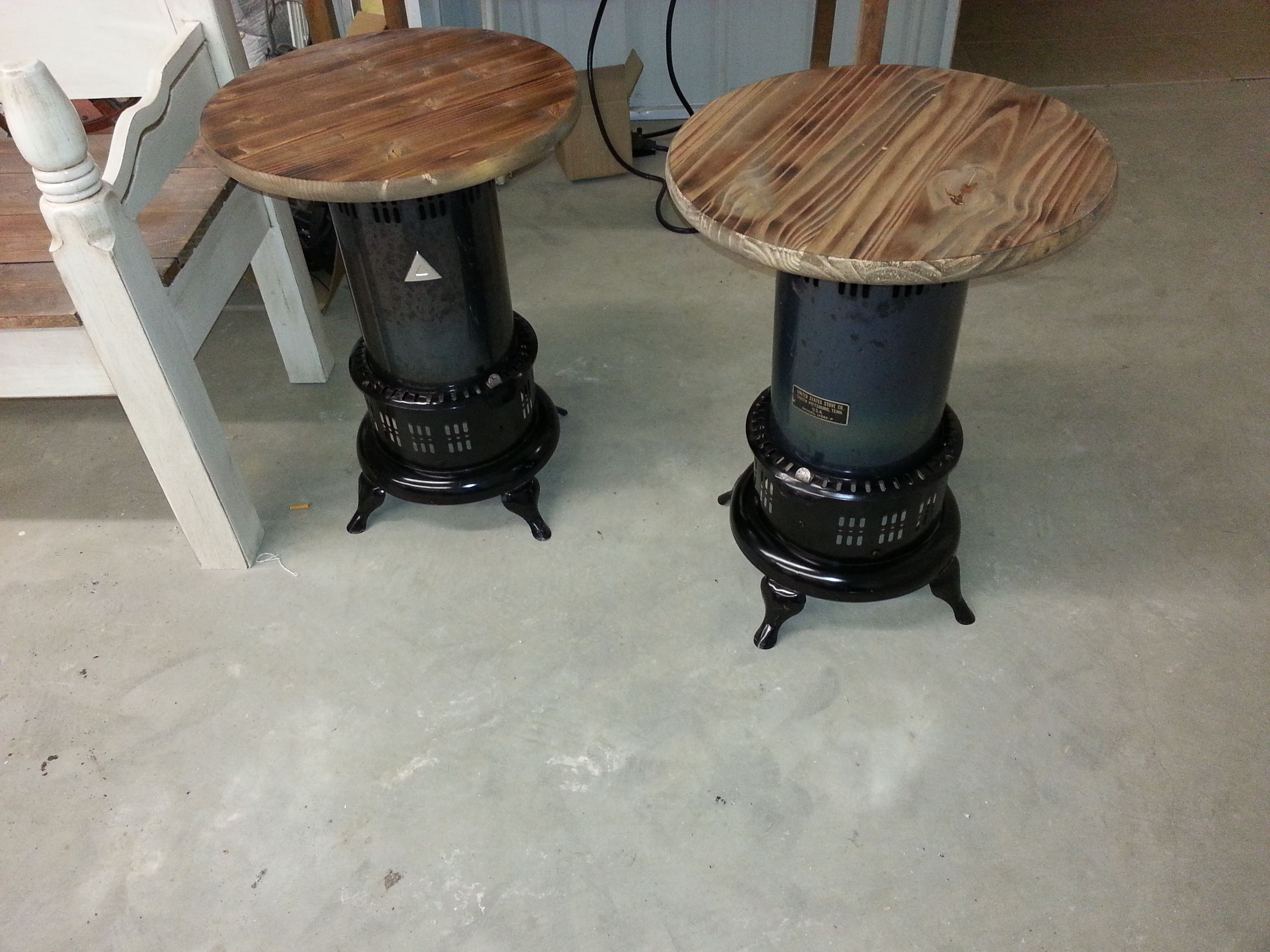 New Tables Made From Old Kerosene Heaters Reclaimed To