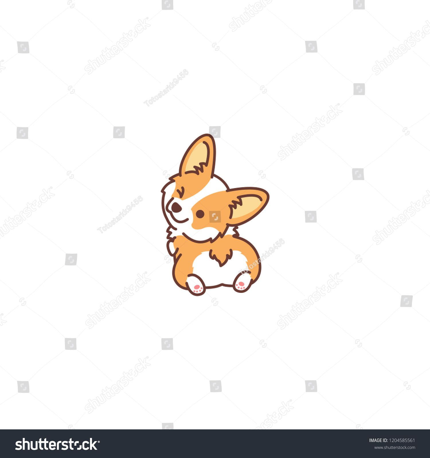 Cute Corgi Dog Looking Back And Winking Vector Illustration