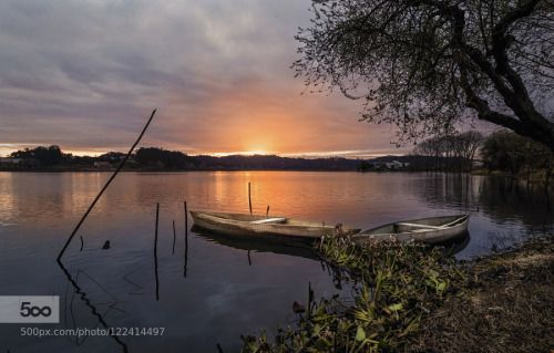 The Lake of Silence by AnaSousaSimes  Lake boats clouds lake morning photography sky sun sunrise water Ana Simões The Lake of Silence AnaS