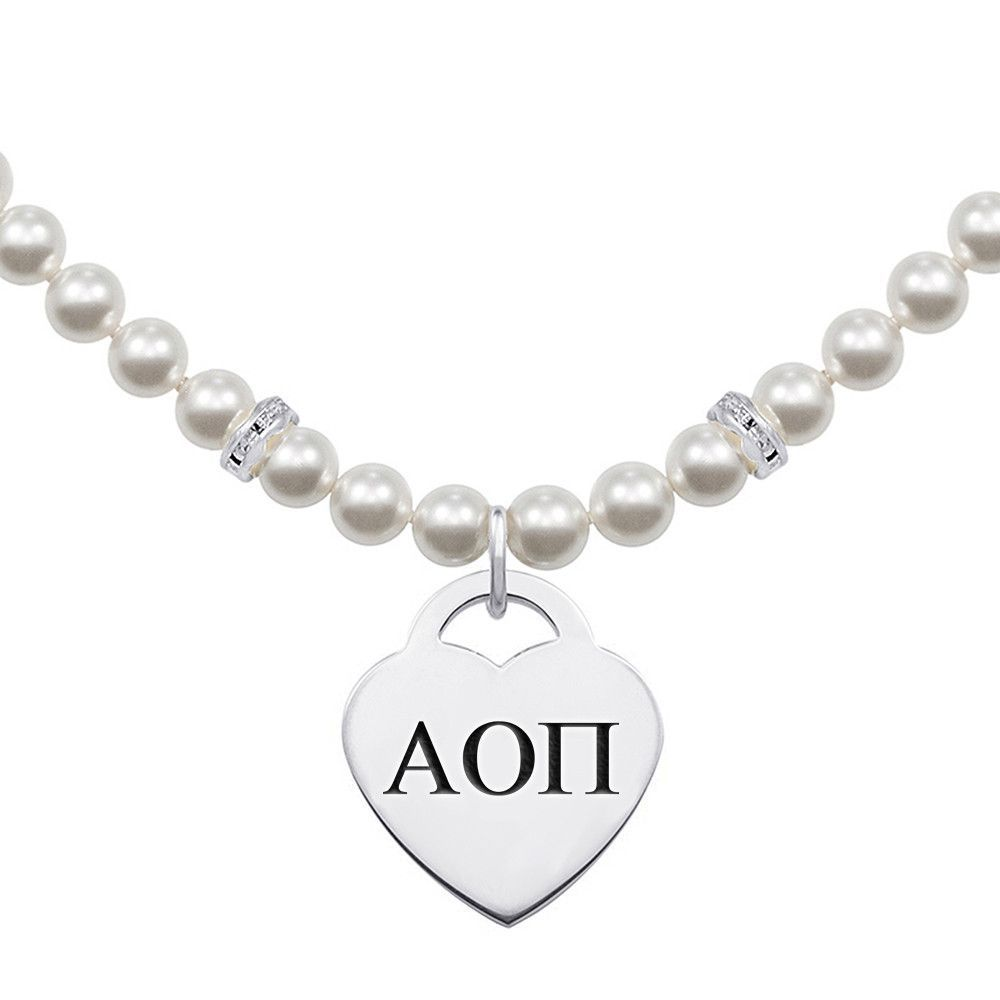 Alpha Omicron Pi Greek Letters Pearl Necklace With Heart