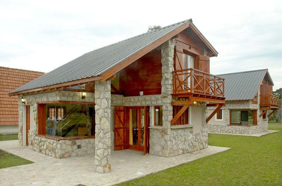 Frentes de casas modernas con piedras y 900 - Casas con chimeneas modernas ...