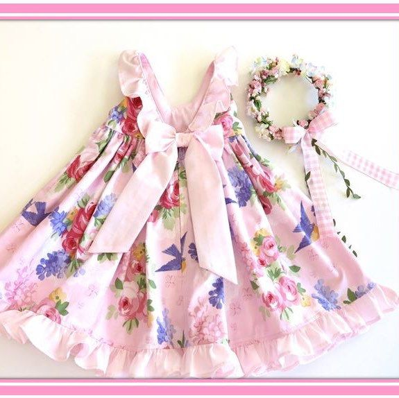 Pale and pretty Lilac and Roses dress available in sizes 1-3  in new spring collection