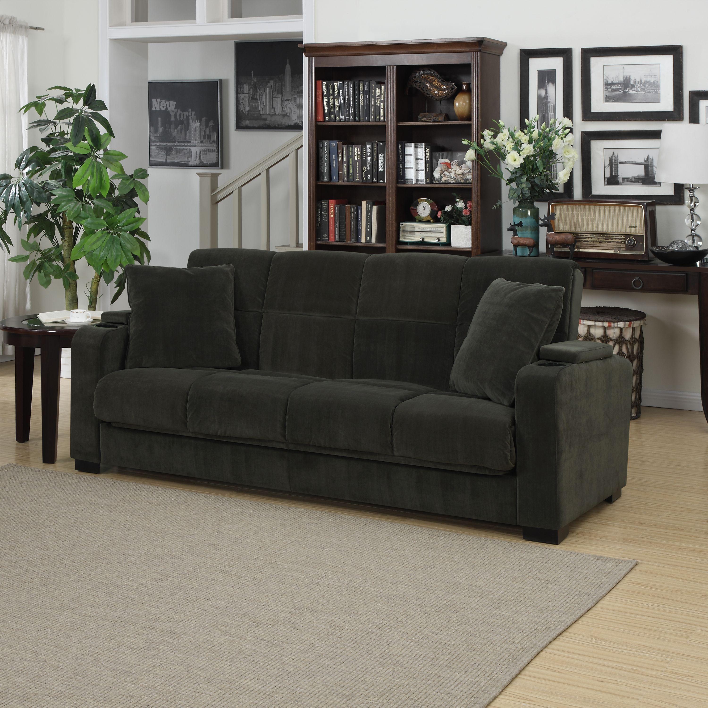 Portfolio Tevin Gray Velvet Convert A Couch Storage Arm Futon Sofa Sleeper Ping Great Deals On Sofas Loveseats