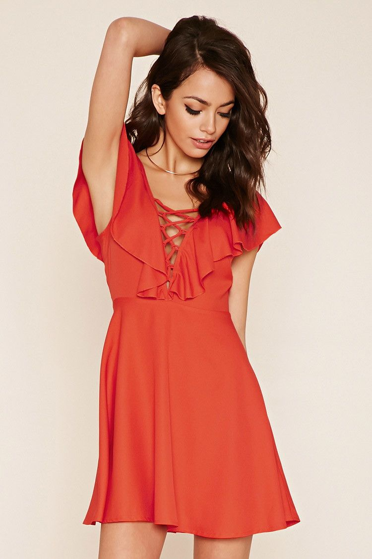 Pink dress forever 21  Ruffled LaceUp Dress  Forever     Clothes