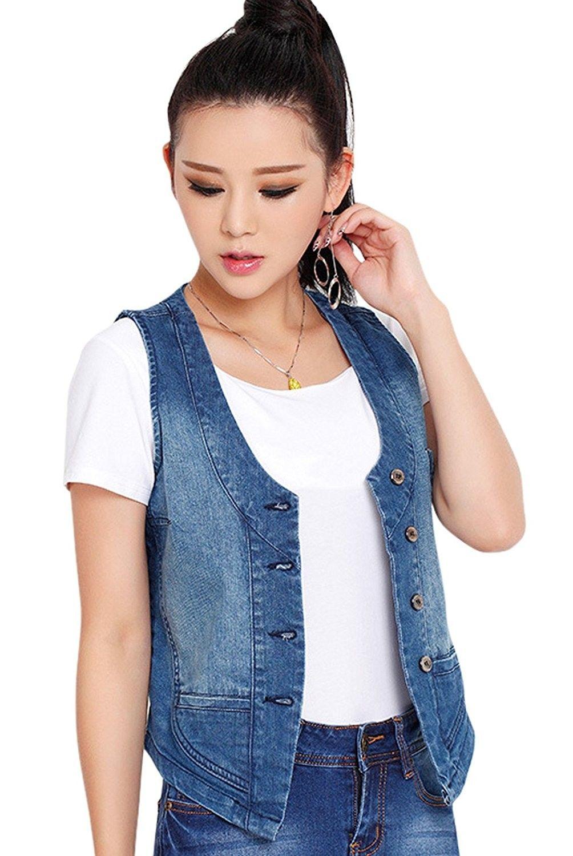 Women S Stretchy V Neck Button Up Unlined Denim Waistcoat Vest Blue Cf12fmbv07z Denim Waistcoat Womens Denim Vest Denim Vest [ 1500 x 1004 Pixel ]