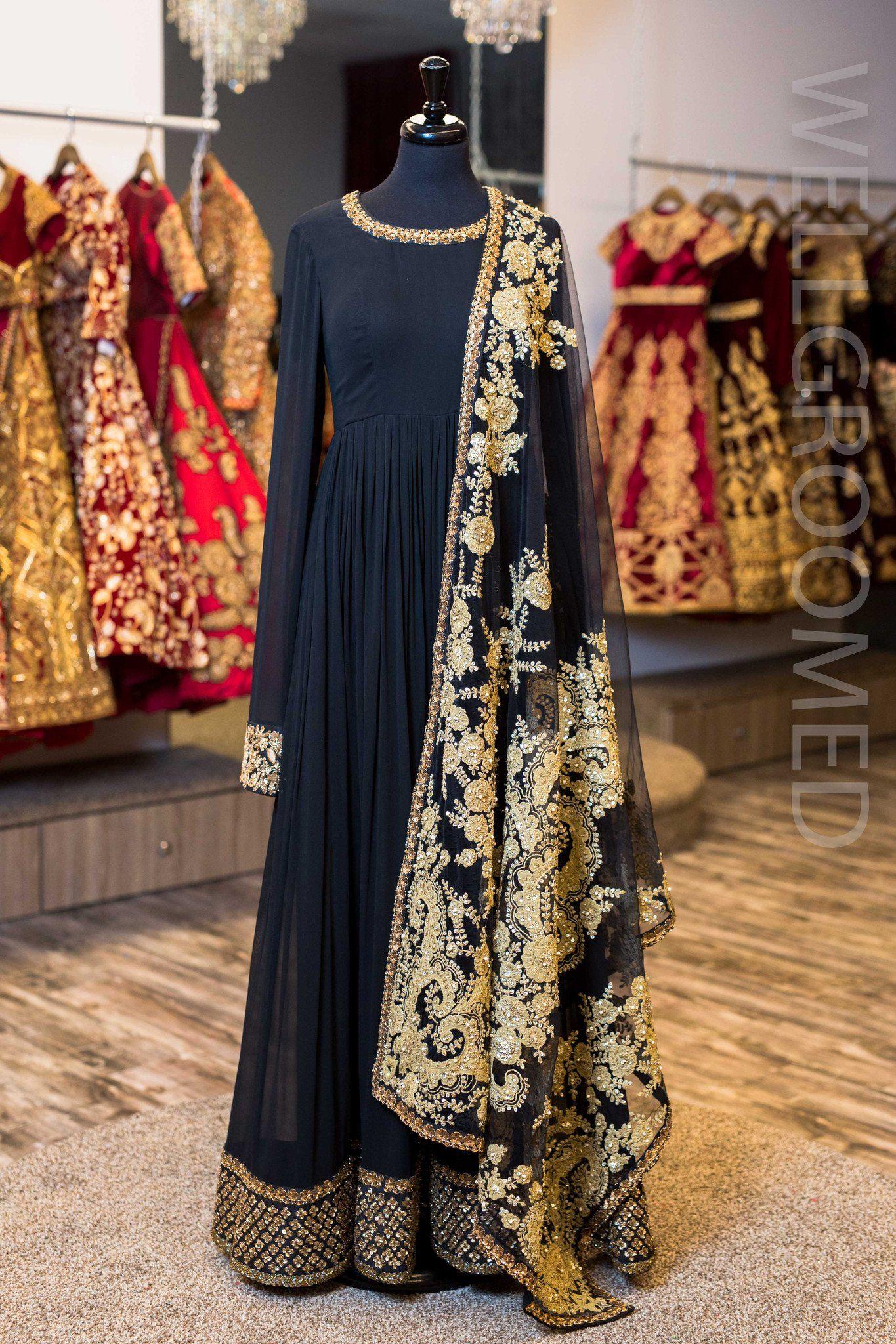Is a black dress ok to wear to a wedding  Black Georgette Anarkali W Embroidered Dupatta  Abhiu Style