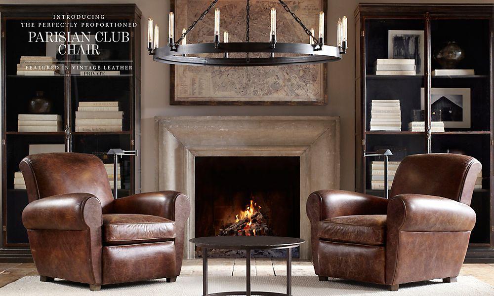 Fireplace Design restoration hardware fireplace : Restoration Hardware 2014 Leather Source Book: San Sebastian round ...