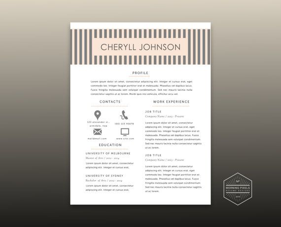3 pk modern resume 2 pages cover letter reference by morningpixels - resume 2 pages
