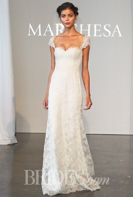 d2c261a9 Corded lace sheath wedding dress with a sweetheart neckline and cap  sleeves, Marchesa