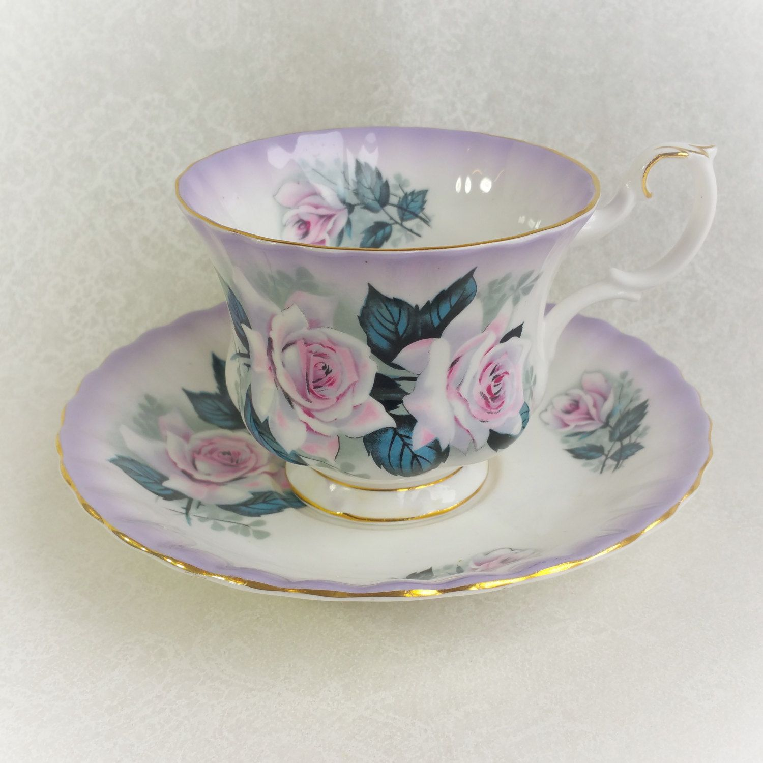 Vintage Tea Cup and Saucer ROYAL ALBERT Lavender with pink and white roses / Vintage Tea Party / Collectable teacup by HoneyandBumble on Etsy