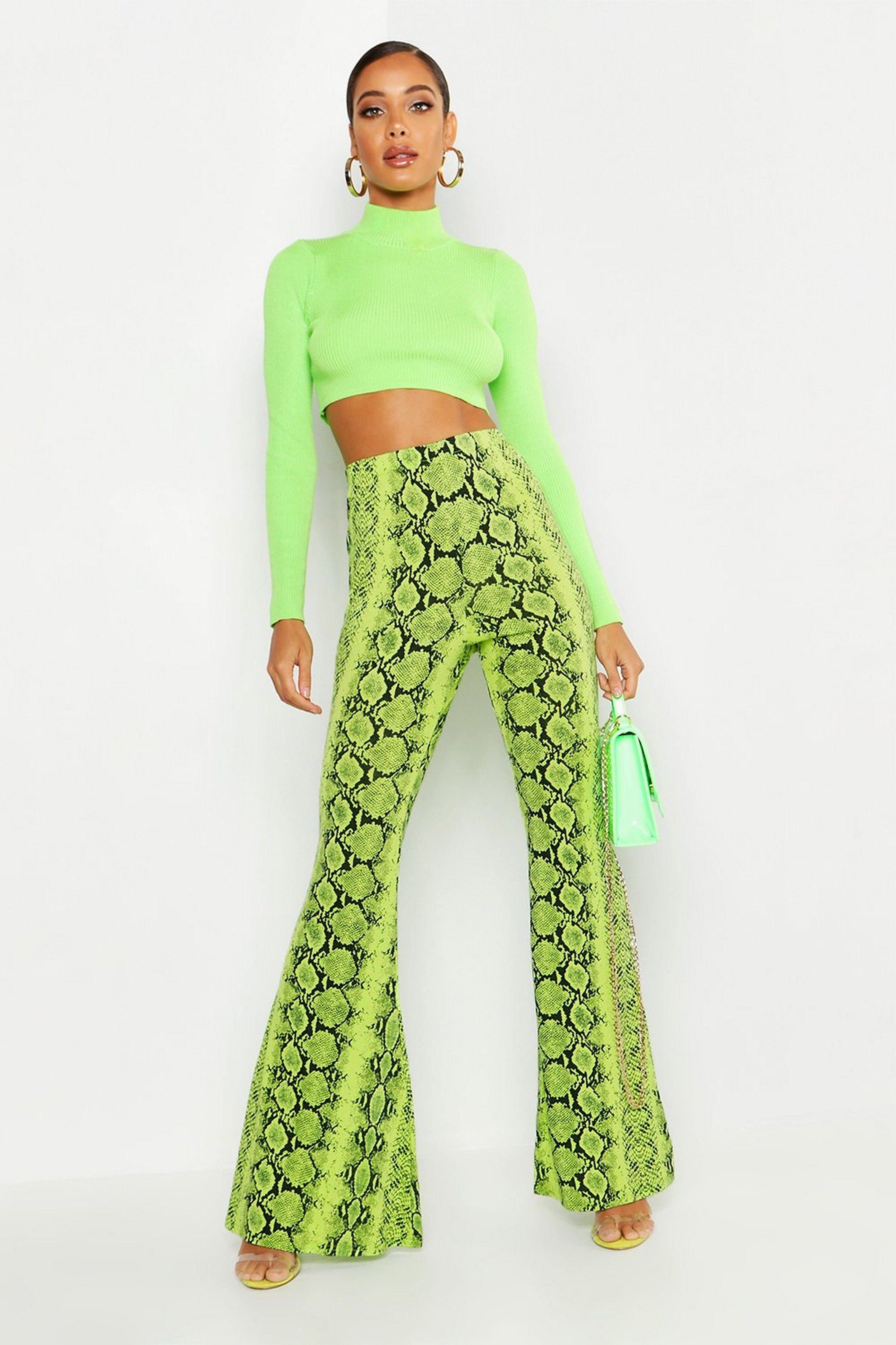 10632eb4cba5 High Waist Neon Snake Wide Leg Trouser | Boohoo Printed Palazzo Pants,  Printed Pants,