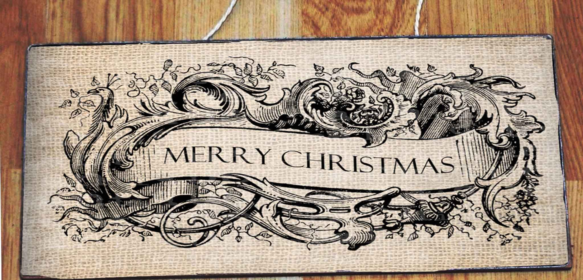 Antique Merry Christmas Banner Frame Fancy By AntiqueGraphique