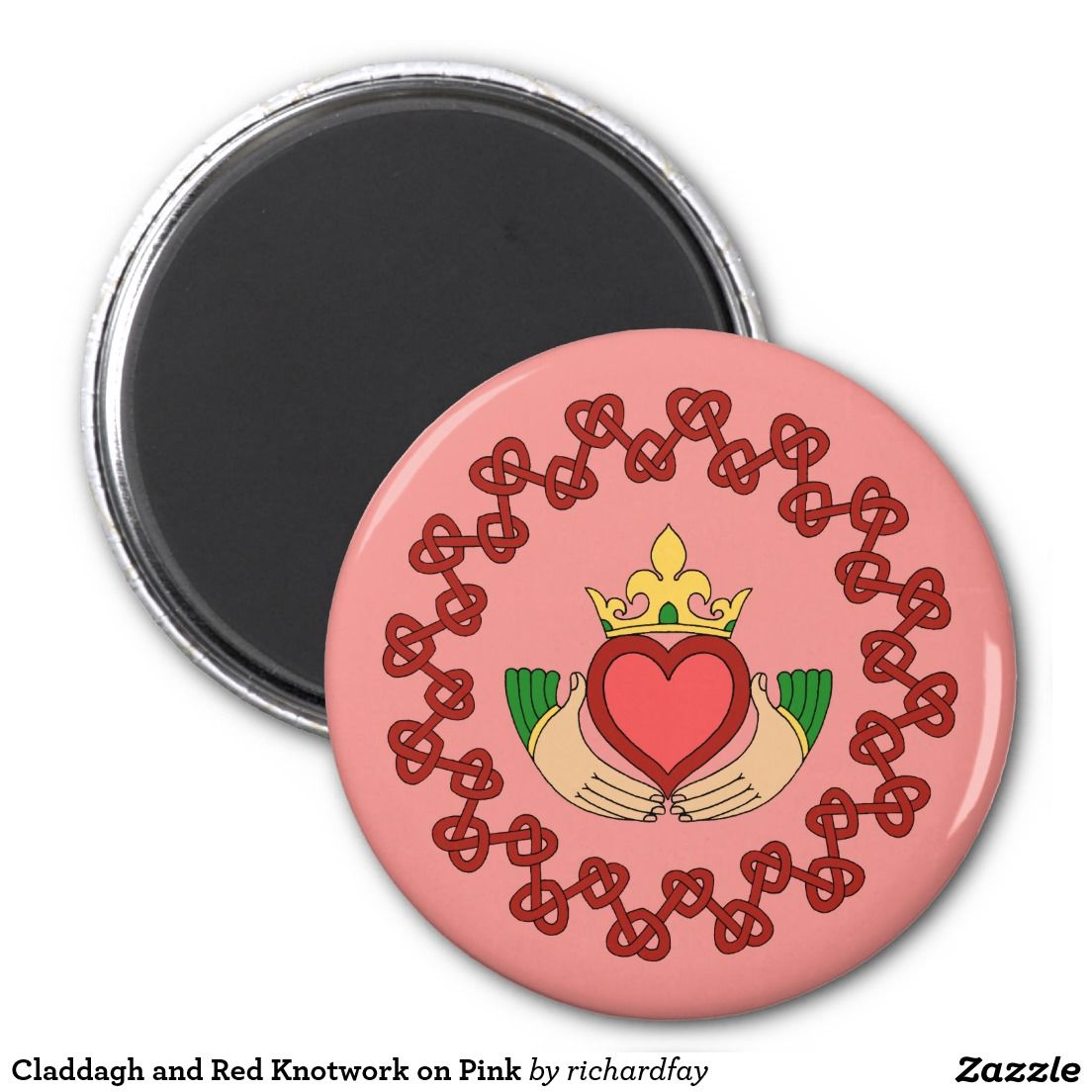 Claddagh and Red Knotwork on Pink Magnet | Claddagh, Round magnets ...