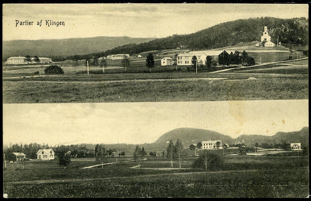 KLINGEN i Namdalen Nord-Trøndelag fylke Meget uvanlig tobilders med oversikter  Utg O. Finstad/NLR. Postg. 1911