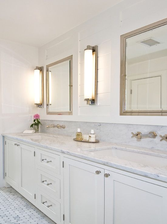 bathrooms - Restoration Hardware Chandler Sconce Restoration Hardware Framed Lit Right-Opening Inset Medicine Cabinet marble basketweave tiles floor white shaker style doors marble countertops polished nickel-wall-mount faucet kit tongue and groove walls backspalsh Restoration Hardware Chandler Sconce Restoration Hardware Framed Lit Right-Opening Inset Medicine Cabinet