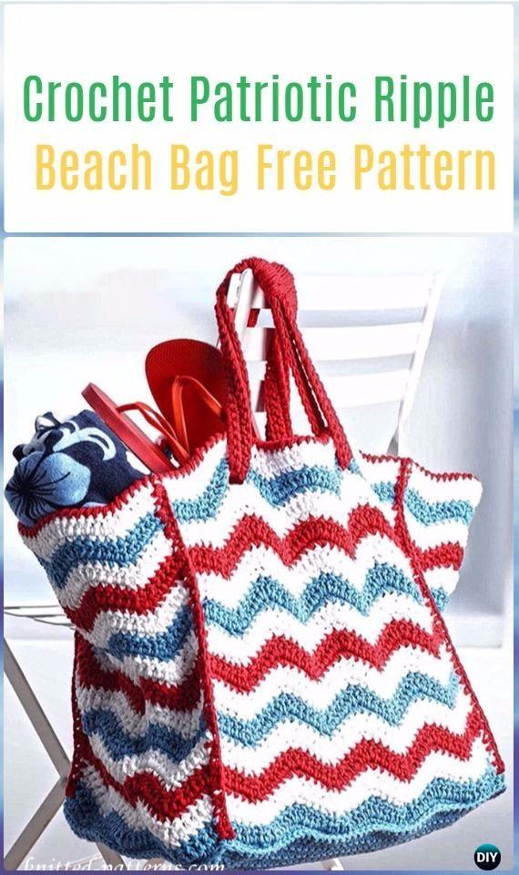 Crochet Patriotic Ripple Beach Bag Free Pattern Crochet Handbag