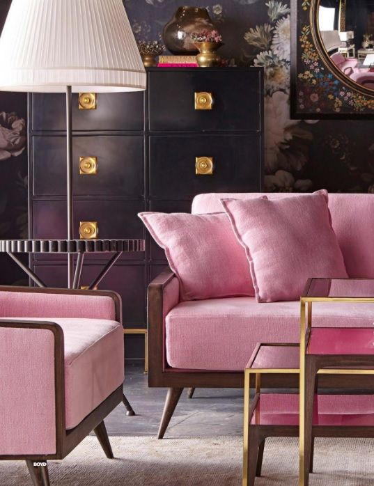 Pink mid-century modern furniture and dramatic wallpaper from ...