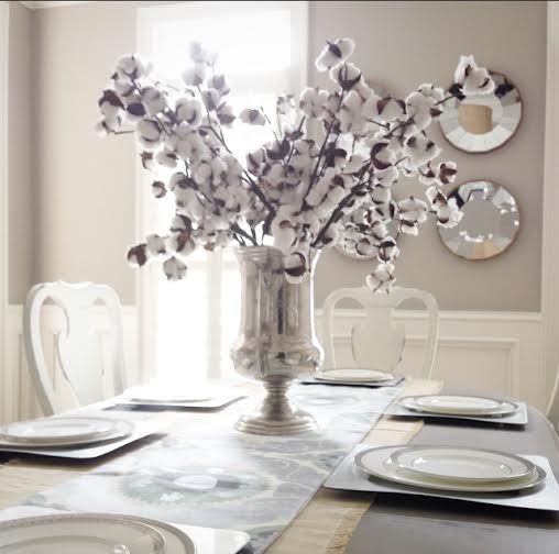Dining Room Table Styling Centerpiece Layered Runner Cotton In Silver Trophy Vase Created By Swatchpop
