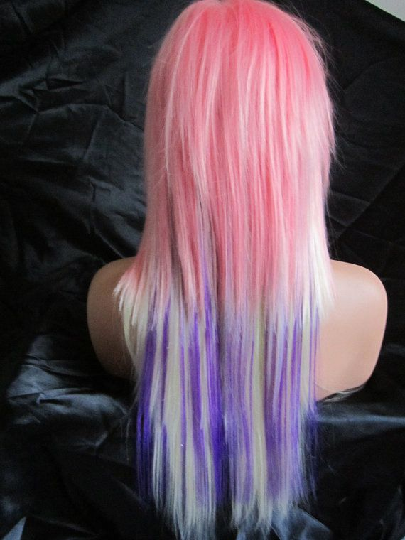 20 OFF SALE Neon Hot Pink / Long Curly Layered Wig with by