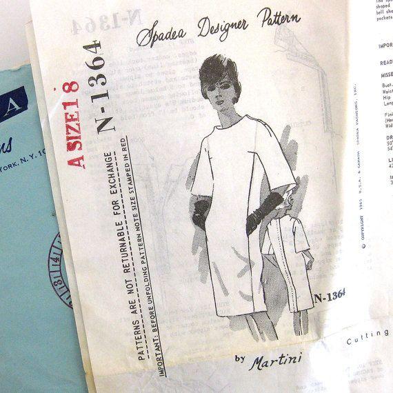 1960s Vintage Sewing Pattern - Spadea N-1364 - Sheath Dress with ...