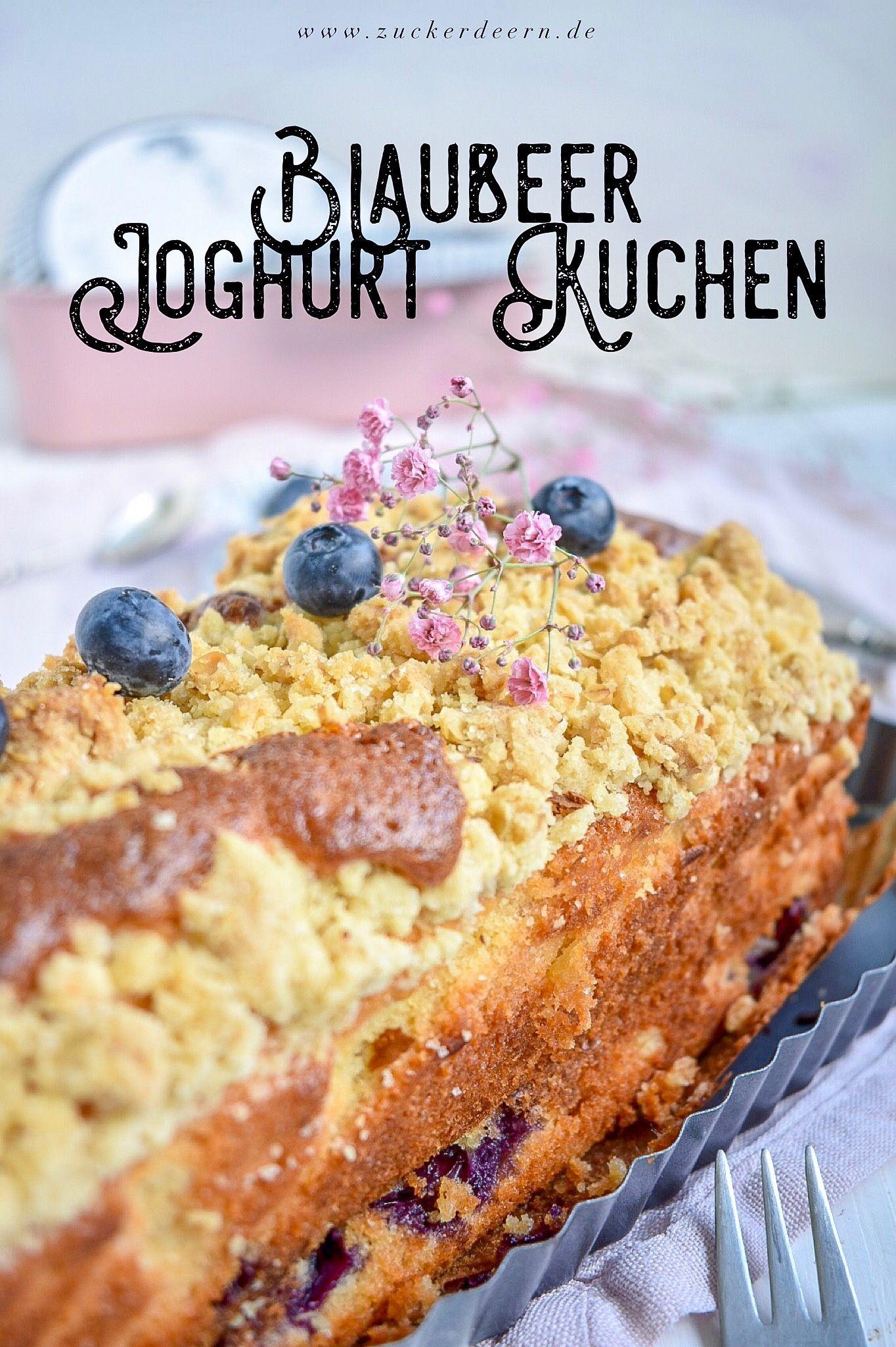 Super schnellles Rezept für einen Blaubeer Joghurt Kuchen aus Rührteig mit kn…