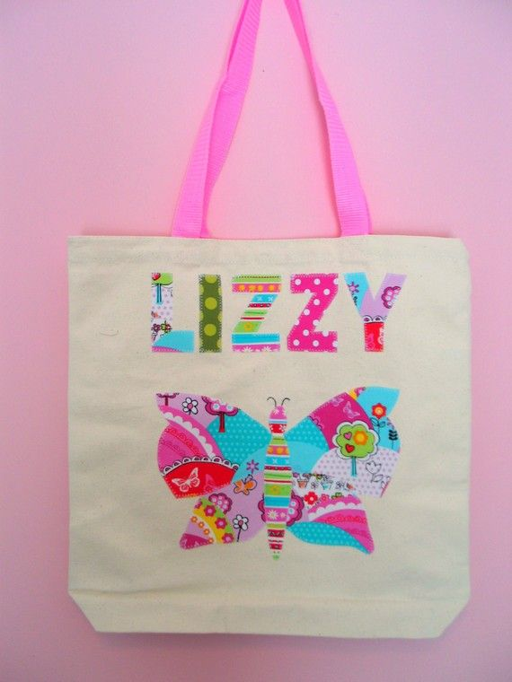 Butterfly Girls Personalized Tote Bag Name Applique Up to Seven ...