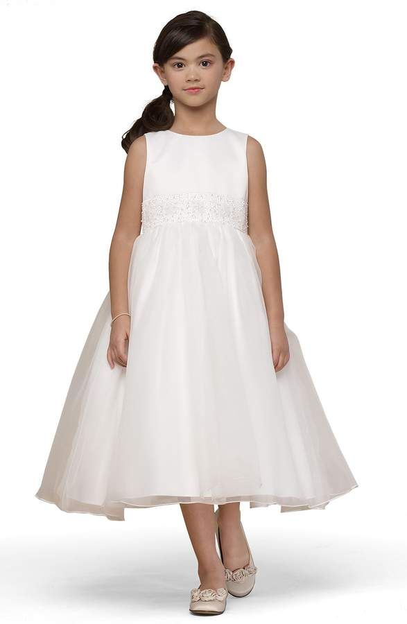 a811ccdc64 Us Angels Beaded Satin Sleeveless Dress