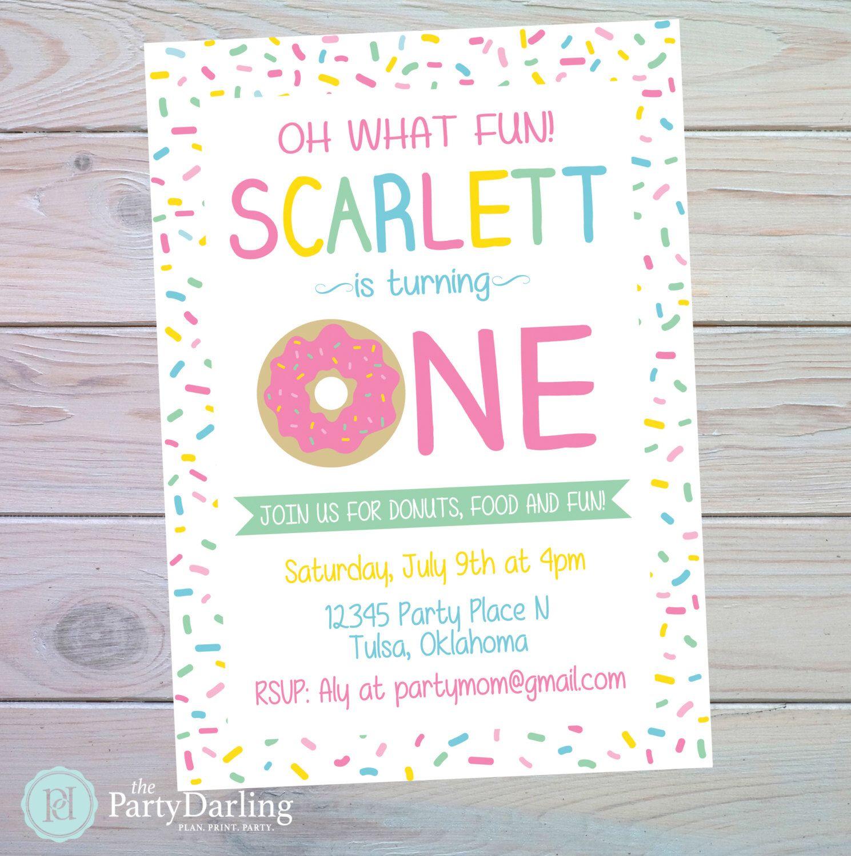 Donut Party Invitation | Donut Birthday Party | Donut Birthday ...