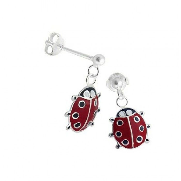 Sterling Silver Red With Black Spots Dangly Ladybug Earrings For Little S Who Love A Bit Of Quirkiness The Ladybugs Measure X Two Quirky Kids
