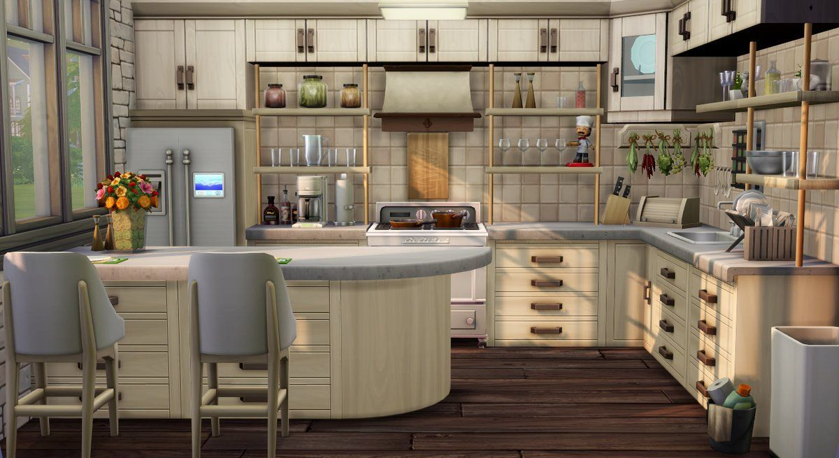 A Cozy Kitchen No Cc Is Used Sims 4 Kitchen Sims House Design