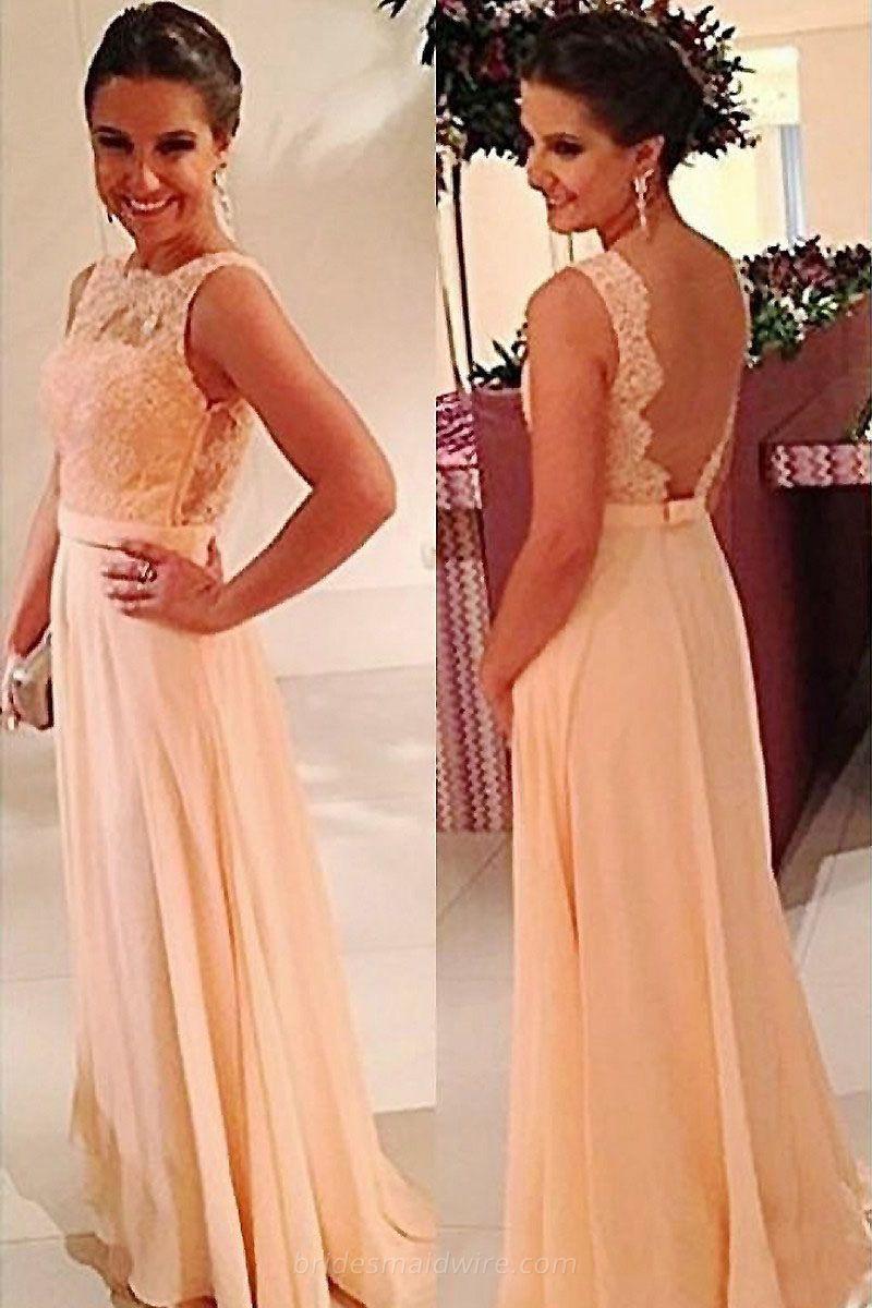 Long sleeveless lace bodice champagne chiffon bridesmaid dress top