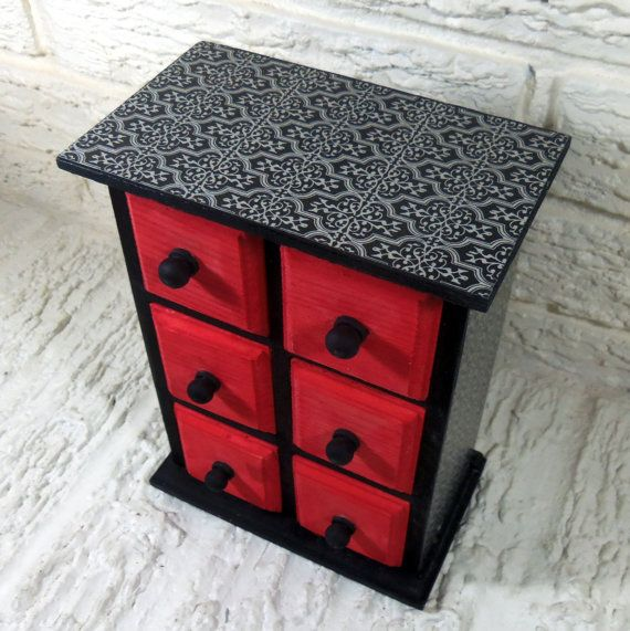 Black and Silver Scrollwork with Red Details Chest of by poelia, $50.00