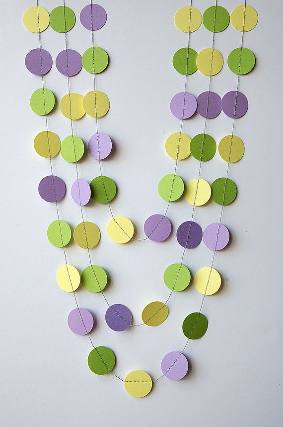MA Lavender Green And Yellow Garland Spring Garland Pastel Garland Nursery  Decorations   Baby Shower   Nursery Decor   Paper Garland By  TransparentEsDecor