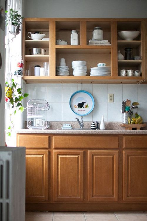 Removed Cabinet Doors To Make Boring Cabinets More Interesting Best Kitchen Cabinets Rental Kitchen Kitchen Cabinet Doors