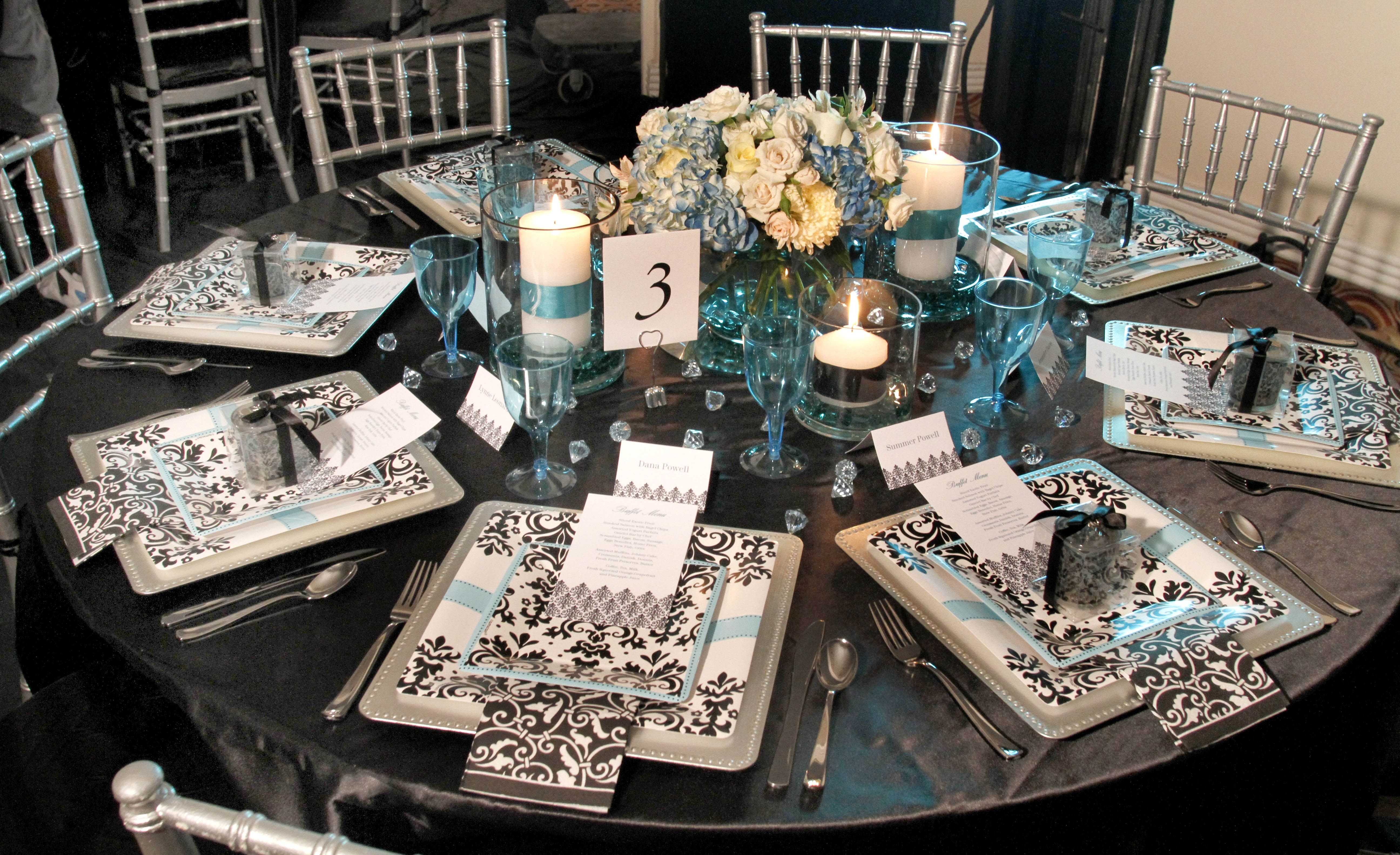 Black white damask turquoise bridal shower brunch decor tablescape