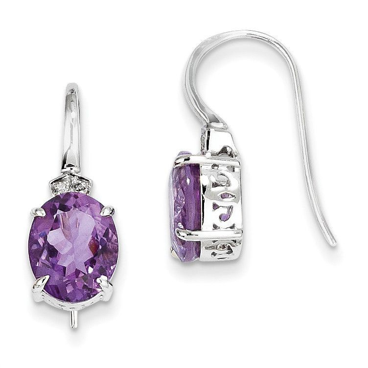 14k White Gold Diamond and Amethyst Oval Dangle Earrings XE2581AM/AA