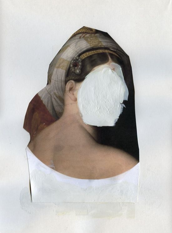 """Mask  mixed media collage on paper  2011  12"""" x 9"""""""