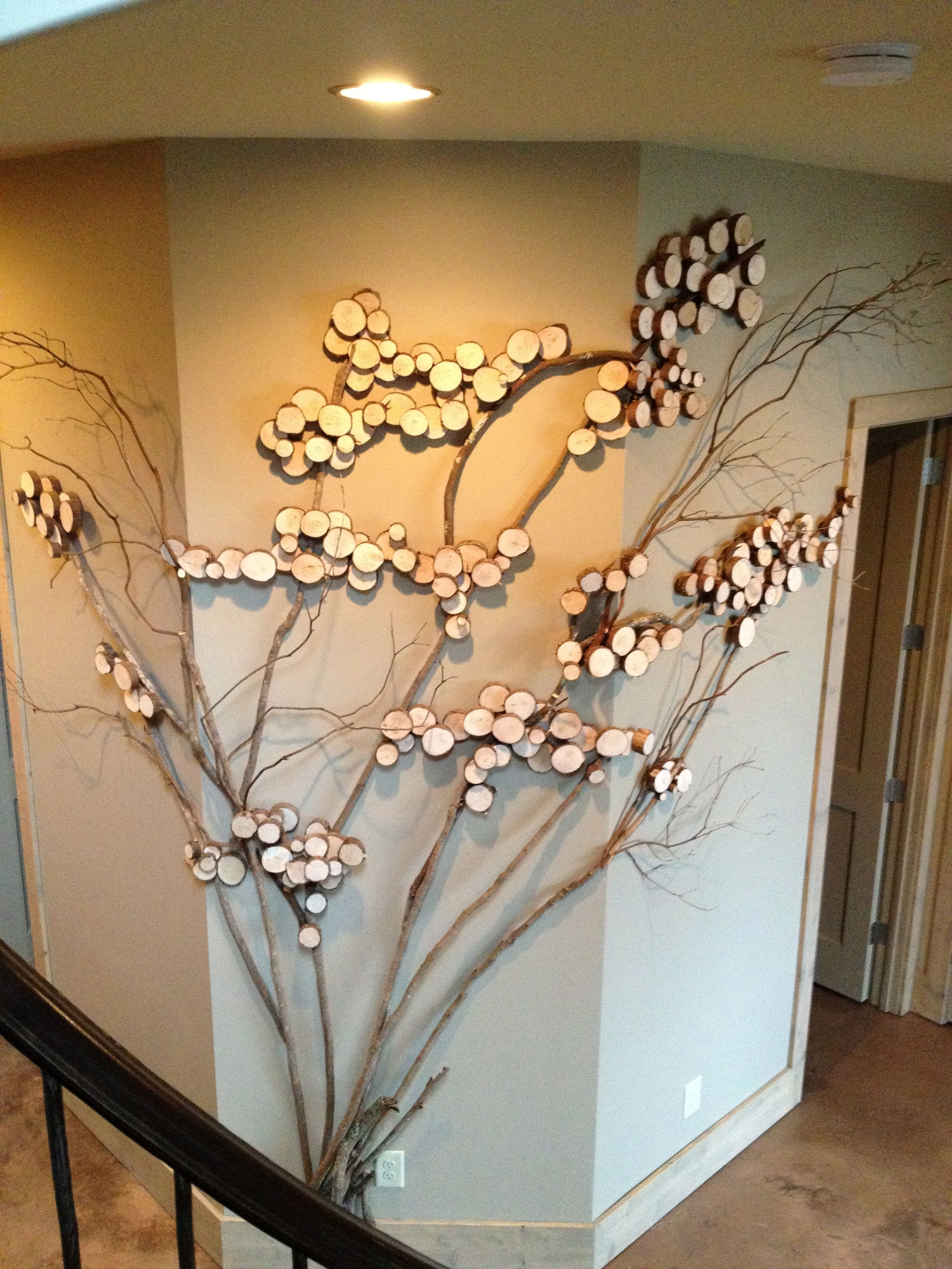 Three sided wall art tree art twig art for wall decor for Wall decorating ideas pinterest