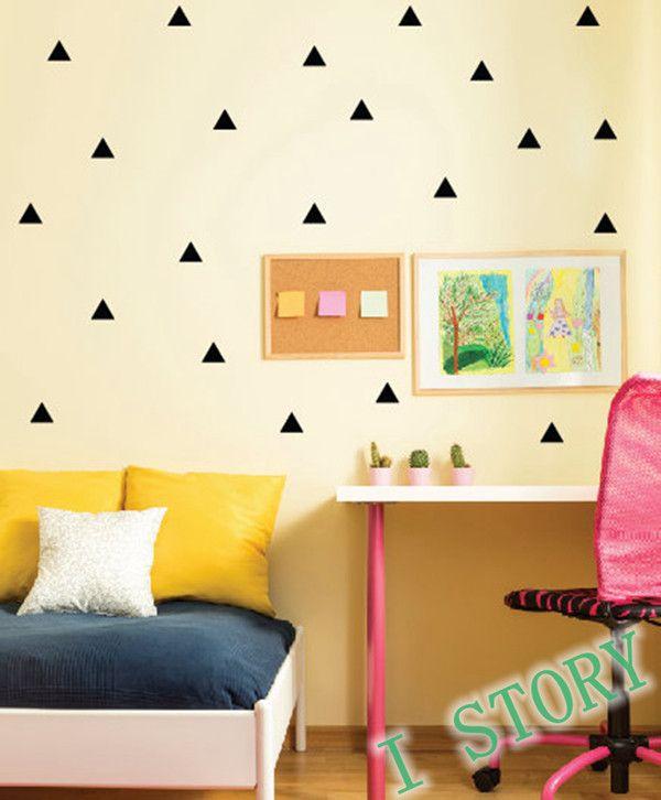 segitiga stiker dinding, kamar anak anak, hiasan dinding, / gold