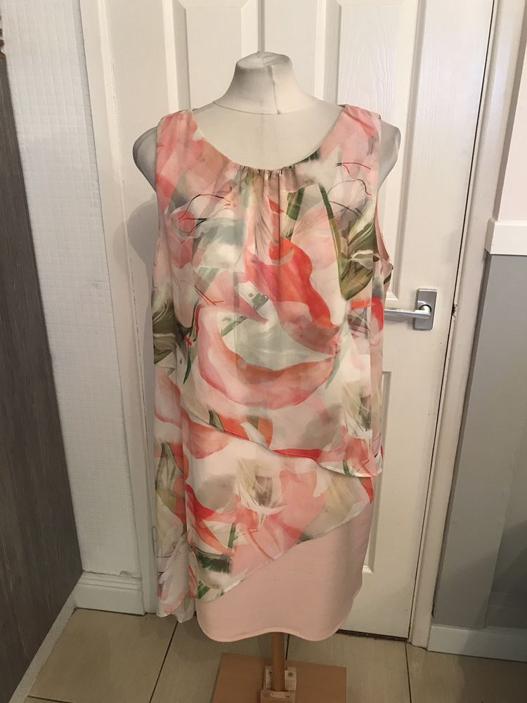 bd3d5f8adc1 Ladies Pink And Green Floral Design Dressy Flattering Look Dress Size 16  Wallis  fashion  clothing  shoes  accessories  womensclothing  dresses (ebay  link)