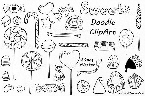 big set of doodle sweets clipart tea time clip art dessert doodles