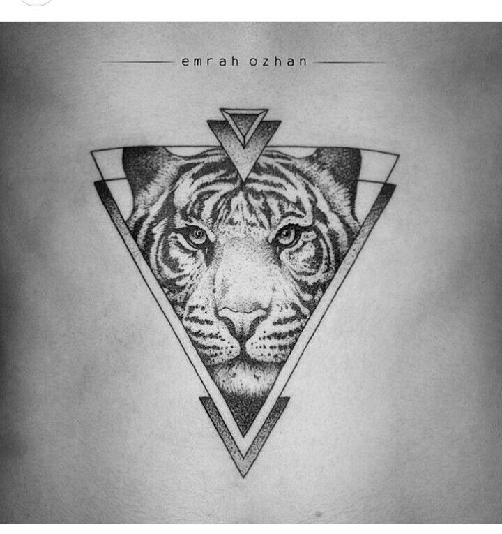 b31481f80f42b Tiger tattoo LOVE! Mais #tiny_geometric_tattoo