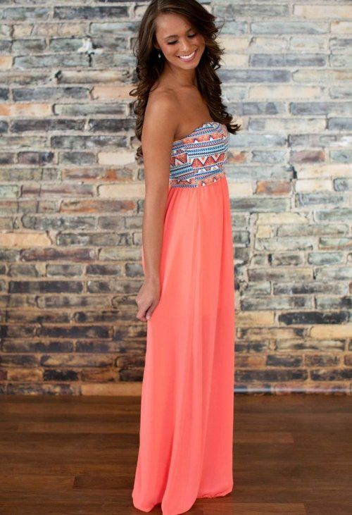 strapless peach summer maxi dress for juniors with tribal peach ...